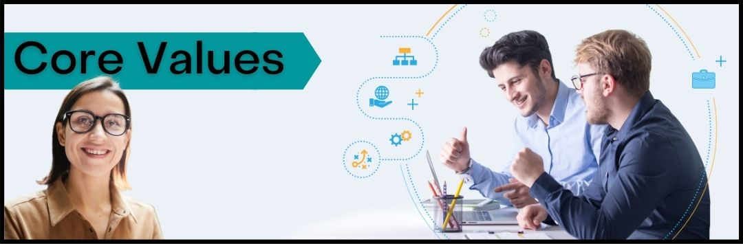 Learn How to Define & Implement Business Core Values Within Your Organization. Businesses that clearly defined & communicated their core values with their employees provide a strong sense of purpose on why and what they are working on. Because of that purpose, it increases an employee's satisfaction with his or her work.