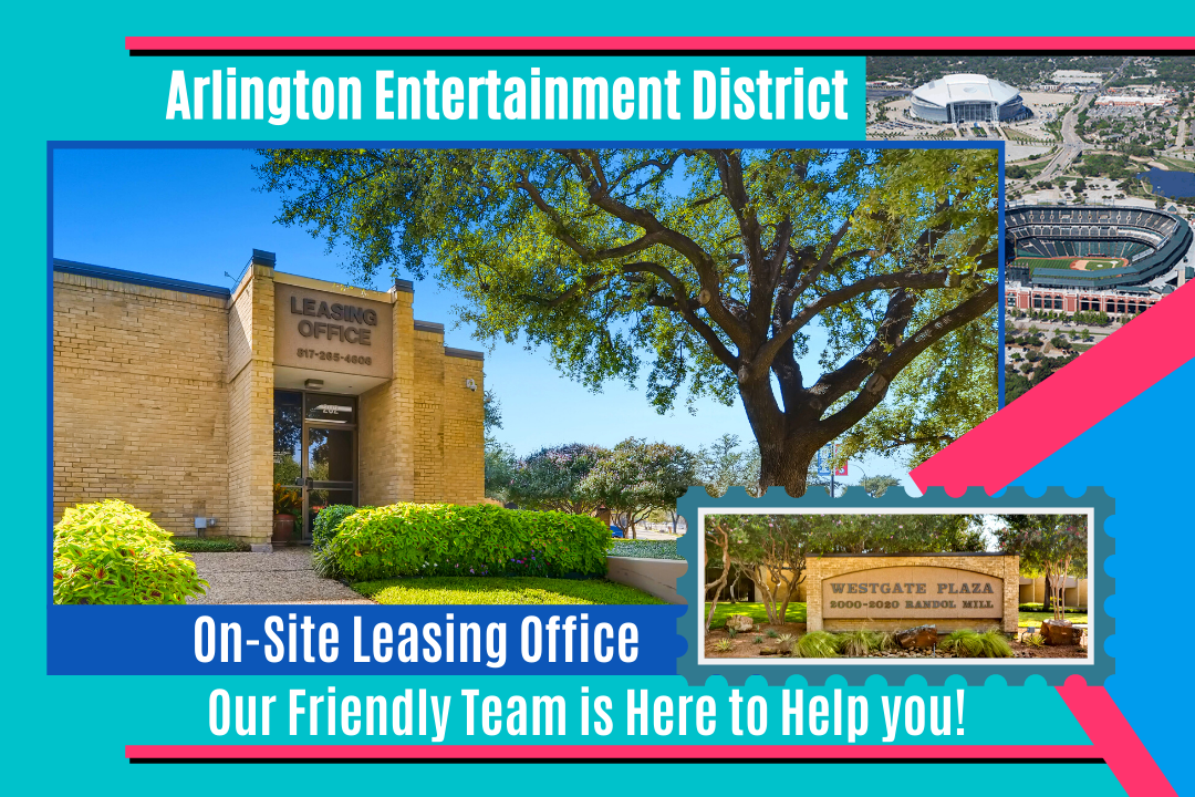 JW Management Westgate Plaza Commercial Space for Lease near Arlington Entertainment District with On Site Leasing Office