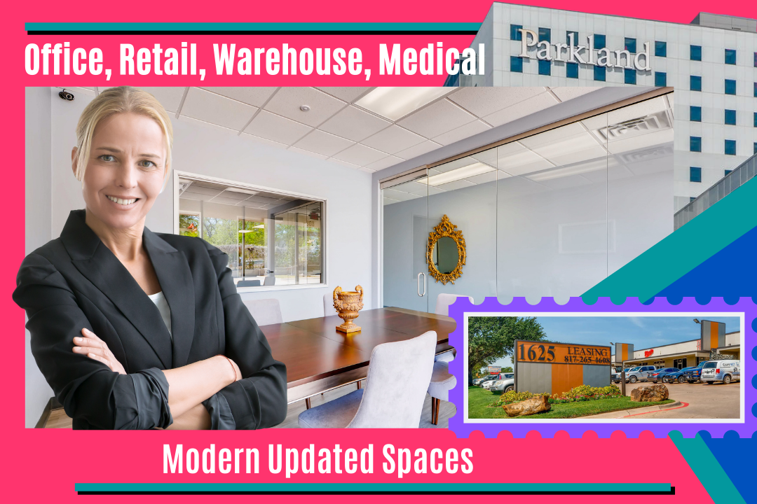 Modern Updated Commercial Spaces that are Two blocks away from the Parkland Hospital in Dallas Texas.
