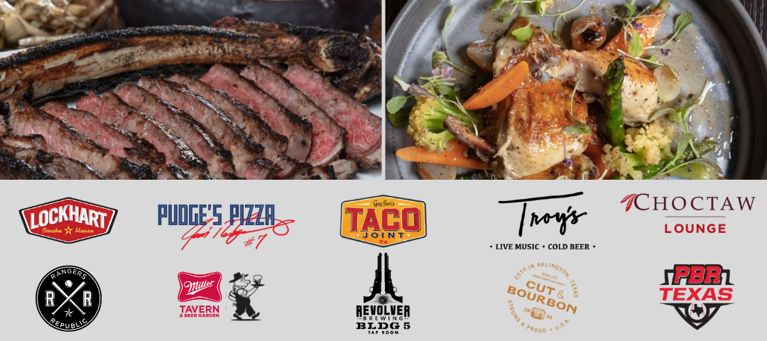 Restaurants in the Arlington Entertainment District within Texas Live! The Top 12 Restaurants are compiled in this list.