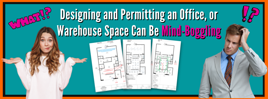 Confused People thinking about the designing and permitting process for an office, retail, or warehouse space.
