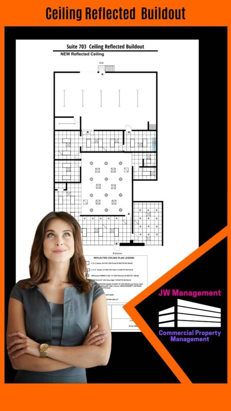 A woman looking above a reflected ceiling buildout design that shows the planned ceiling construction of the commercial space