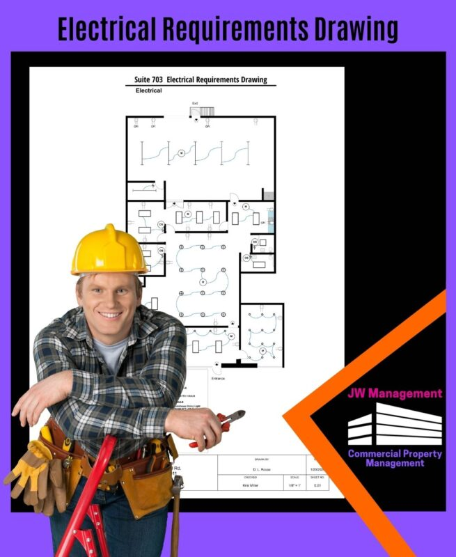 Smiling man wearing hard hat and holding pliers in front of the electrical requirements drawing plan for a new office space
