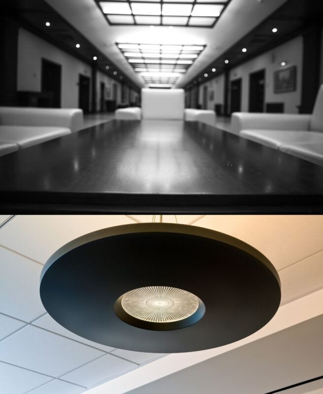 Two different images showing what a finished ceiling build out looks like with lighting inside an office, retail, flex space