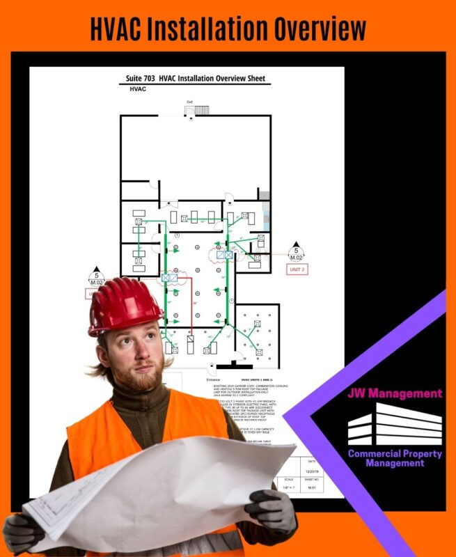 A man wearing a hard hat reviews the Heating, ventilation, and air conditioning installation drawing of the office flex space