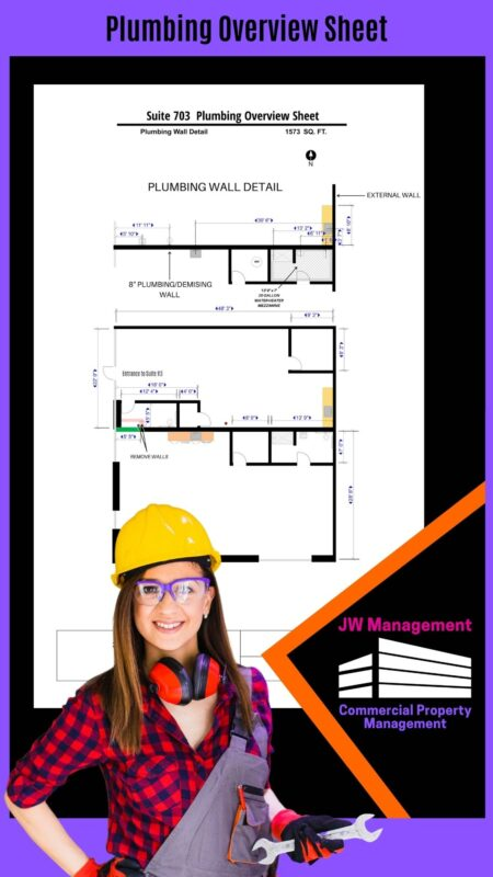 Happy plumber holding a wrench and behind her shows the plumbing overview sheet design for an office, flex, or warehouse space